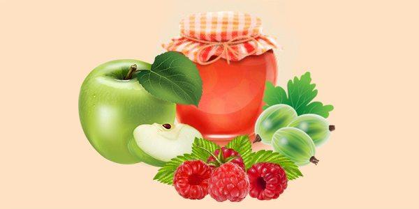 джем або варення з аґрусу, малини та яблук