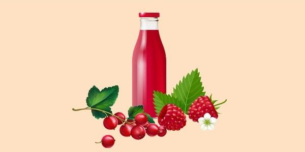сік з малини та червоної смородини