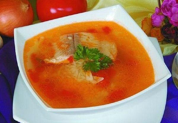 Суп з морського язика з рисом і помідорами