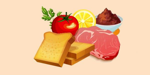 тости з м'ясом, паштетом, помідором, лимоном і петрушкою