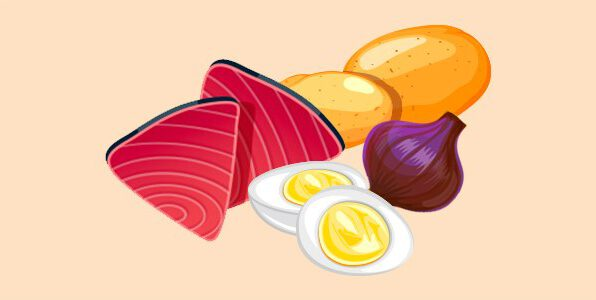 тунець, картопля, цибуля, яйця