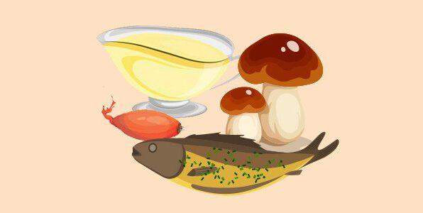 форель з білими грибами та соусом