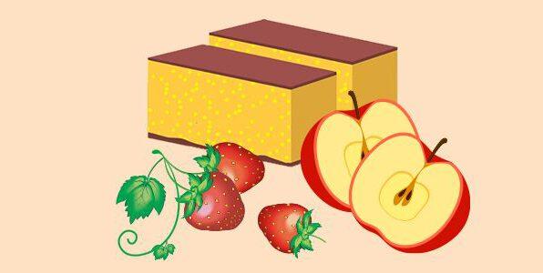 японський бічквіт кастелла з полуницею та яблуками