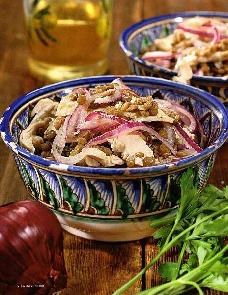 Салат теплий з сочевицею